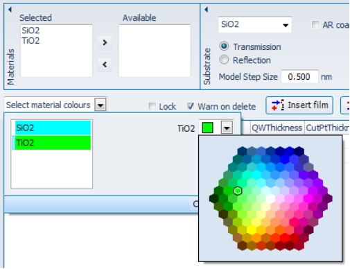 Select colours for each layer. These colours are carried through to all graphs and even into FilmDirector.