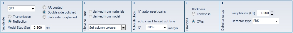 Many of the important parameters can be set in the Ribbon Bar.